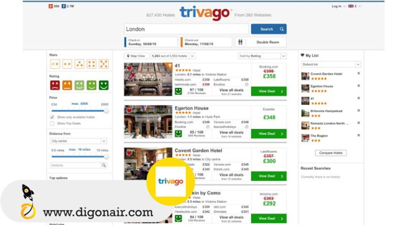 Trivago- Travel and tourism mobile app